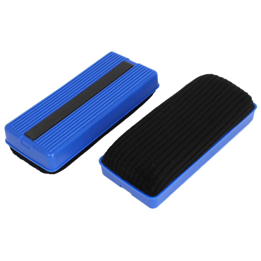 School Plastic Shell Rectangle Magnetic Erase Blackboard Eraser Chalk Marker Cleaner Blue Black 2 Pcs