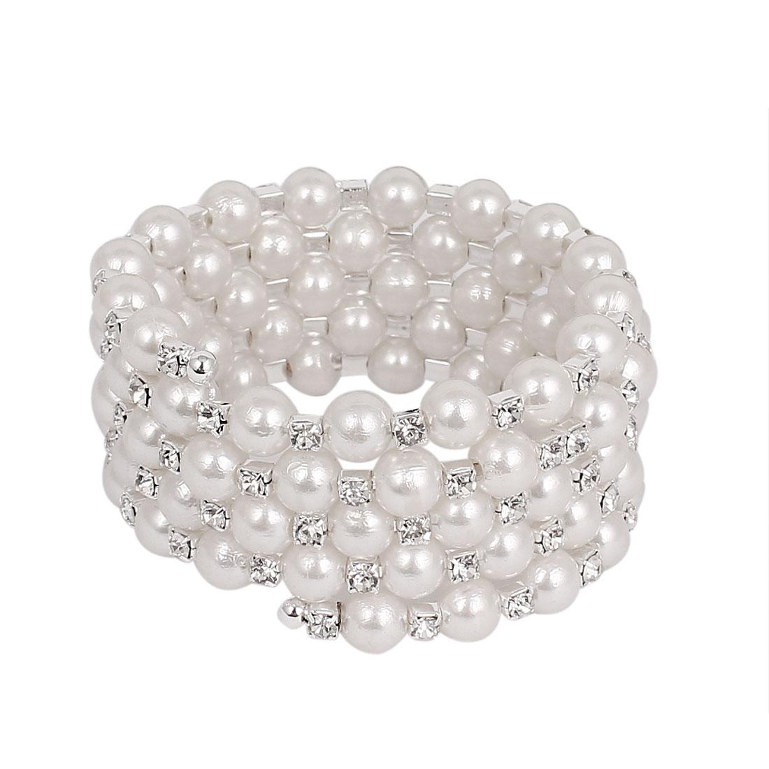 Lady Faux Rhinestone Imitation Pearl Linked 5-Layer Multi Strand Bracelet Bangle White
