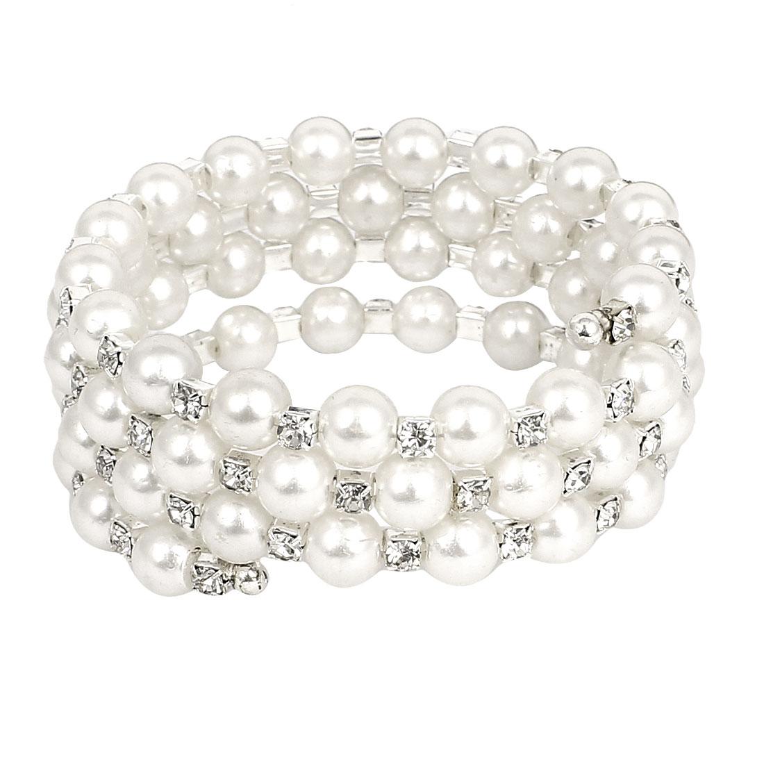 Woman Faux Rhinestone Imitation Pearl Linked 4-Layer Multi Strand Bracelet Bangle White