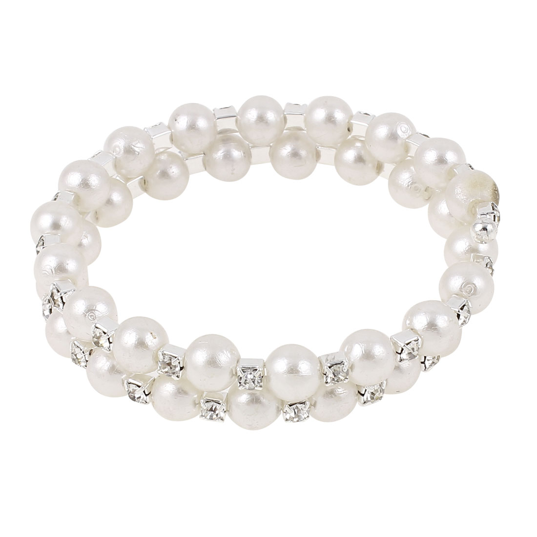 Lady Imitation Pearl Linked 2-Layer Multi Strand Bracelet Bangle White
