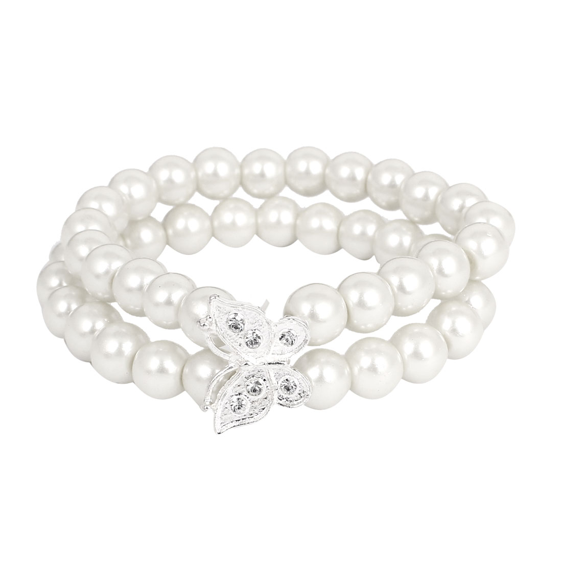 Butterfly Imitation Pearl Charm Wrap Wristband Bracelet Bangle Chain Cuff