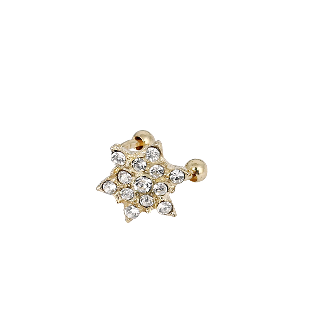 Faux Rhinestone Snowflake Non-pierced Ear Bone Cuff Clip-on Earring Gold Tone