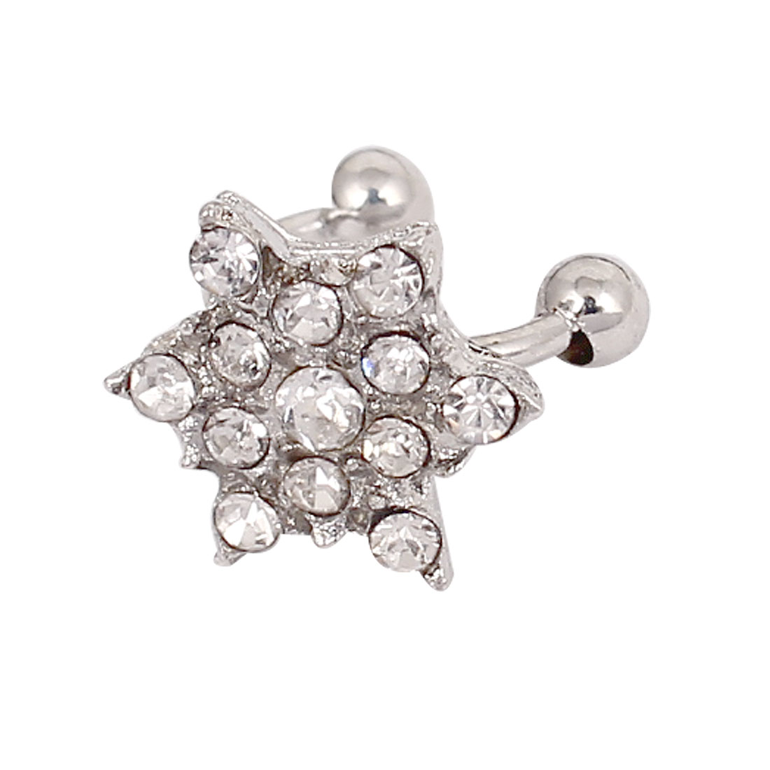 Faux Rhinestone Snowflake Non-pierced Ear Bone Cuff Clip-on Earring Silver Tone