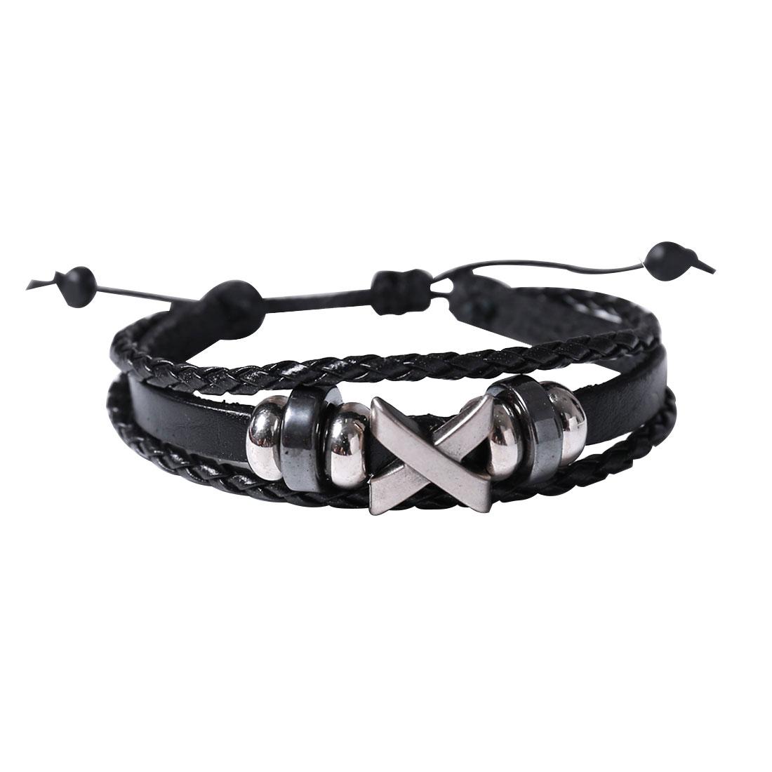 Punk Letter X Leather Charm Wrap Wristband Bracelet Bangle Cuff