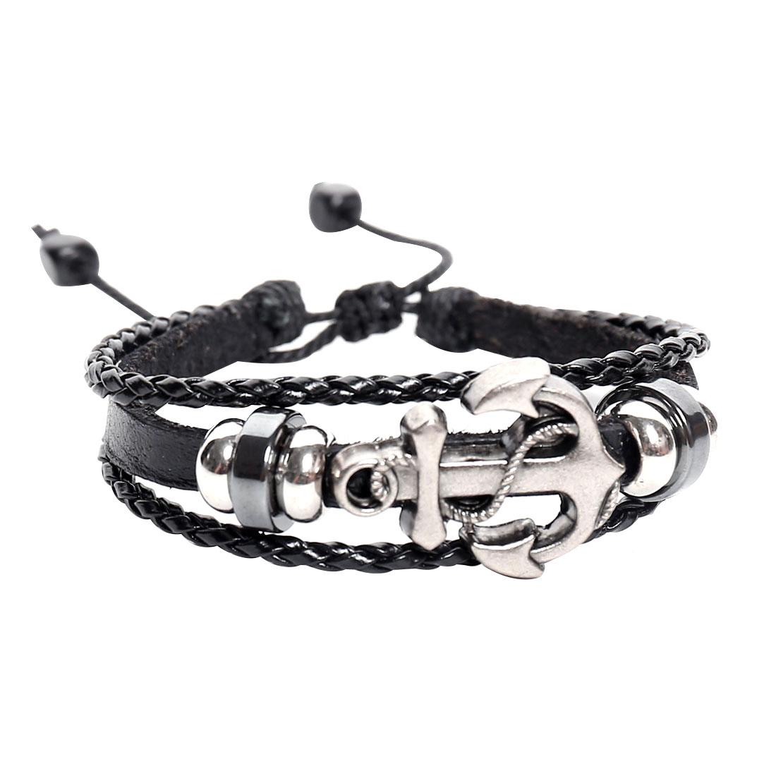 Punk Anchor Leather Charm Wrap Wristband Bracelet Bangle Cuff