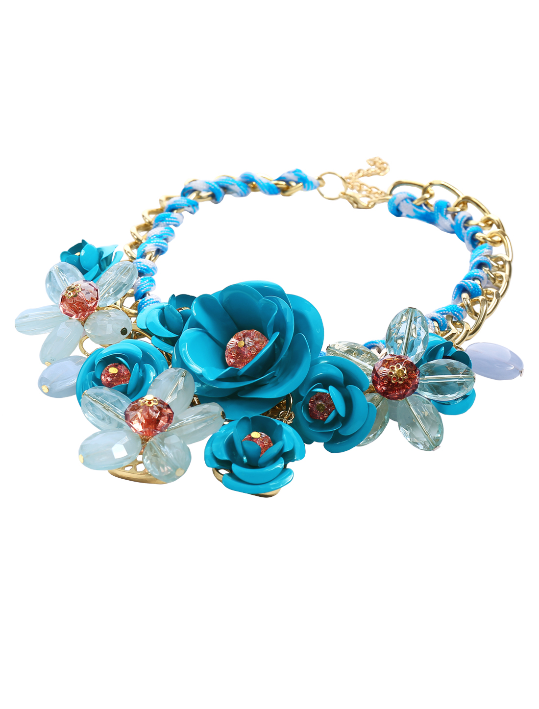 Gold Chain Crystal Blue Flower Statement Pendant Bib Necklace Blue