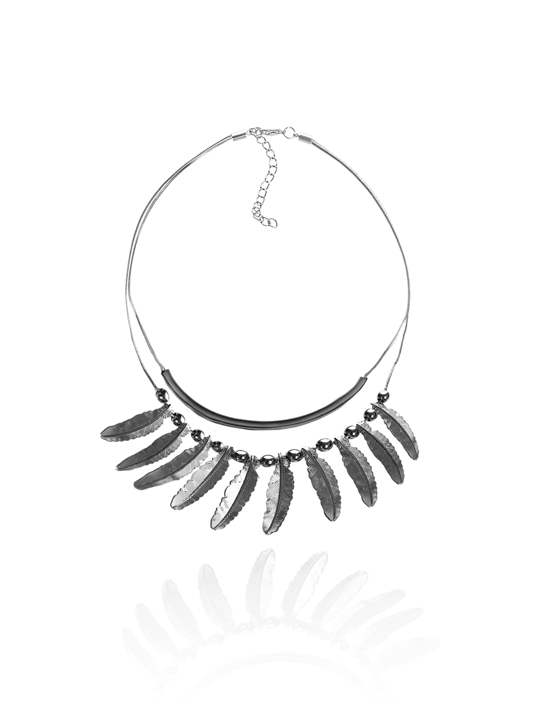 Gray Chain Leaf Statement Alloy Pendant Bib Chunky Necklace Choker
