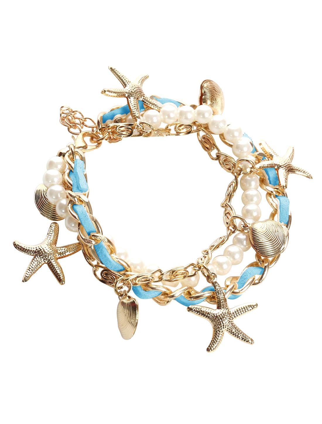 Starfish Shell Blue Leather Imitation Pearl Charm Wrap Wristband Bracelet Bangle Chain Cuff