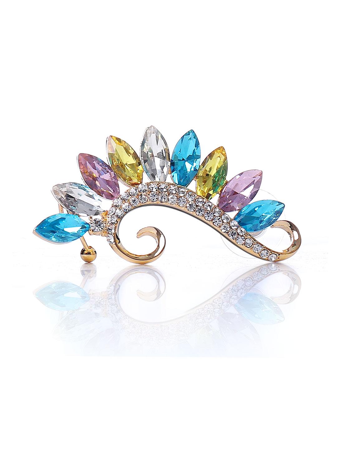 Sea Horse Punk Multi-colored Crystal Ear Rhinestone Clip Cuff Wrap Earring Stud Rock
