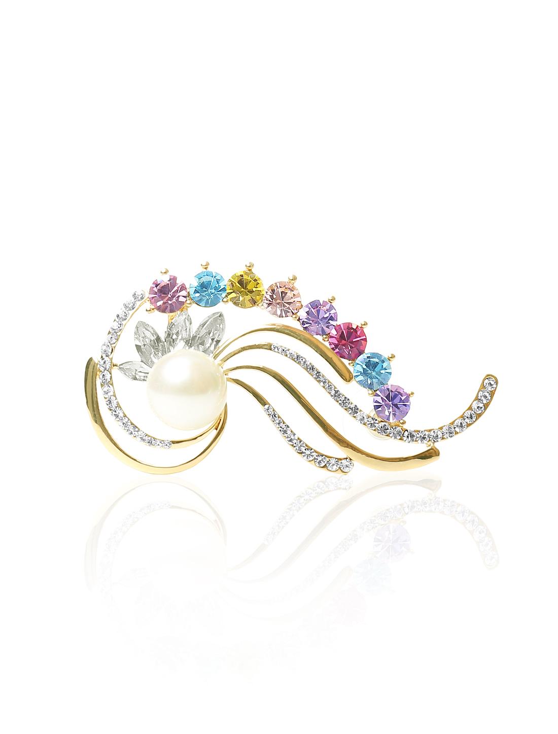 Mermaid Punk Multi-colored Imitation Crystal Pearl Ear Rhinestone Clip Cuff Wrap Earring Stud Rock