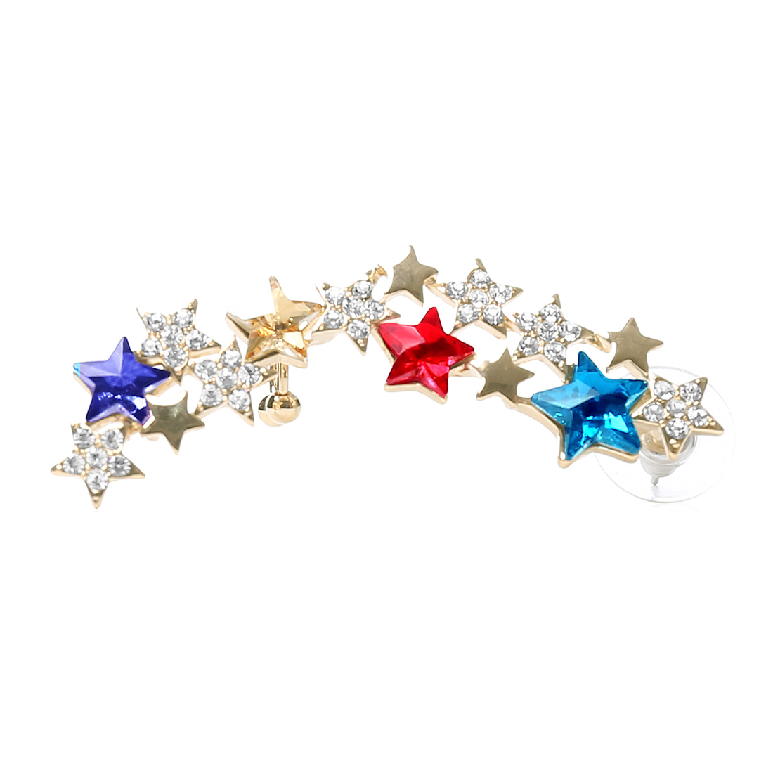 Star Punk Multi-colored Crystal Ear Rhinestone Clip Cuff Wrap Earring Stud Rock