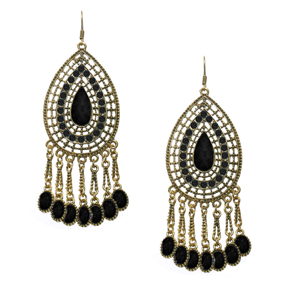 Women Retro Black Waterdrop Shaped Crystal Resin Drop Dangle Hook Earring Ear Stud