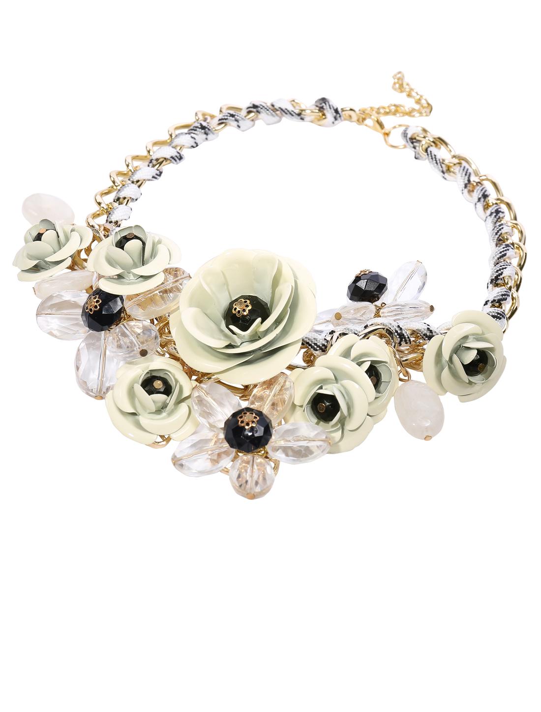Gold Chain Crystal White Flower Statement Pendant Bib Necklace Choker