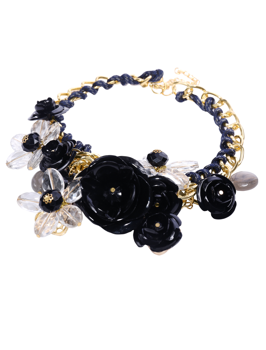 Gold Chain Crystal Black Flower Statement Pendant Bib Necklace Choker