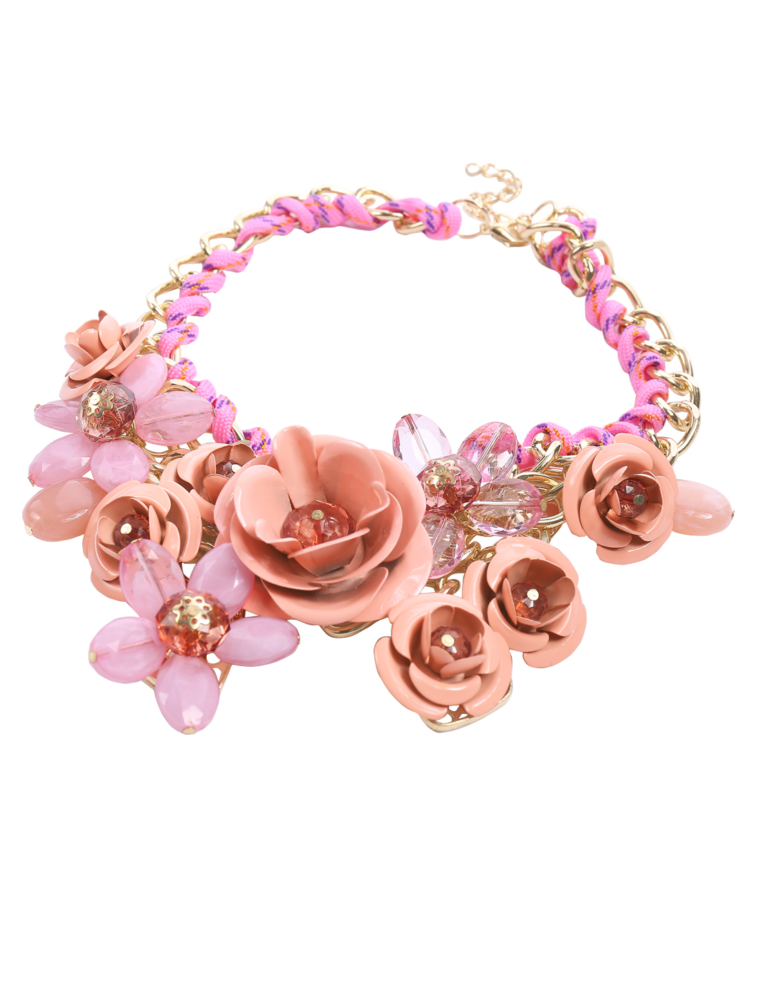 Gold Chain Crystal Pink Flower Statement Pendant Bib Necklace Choker