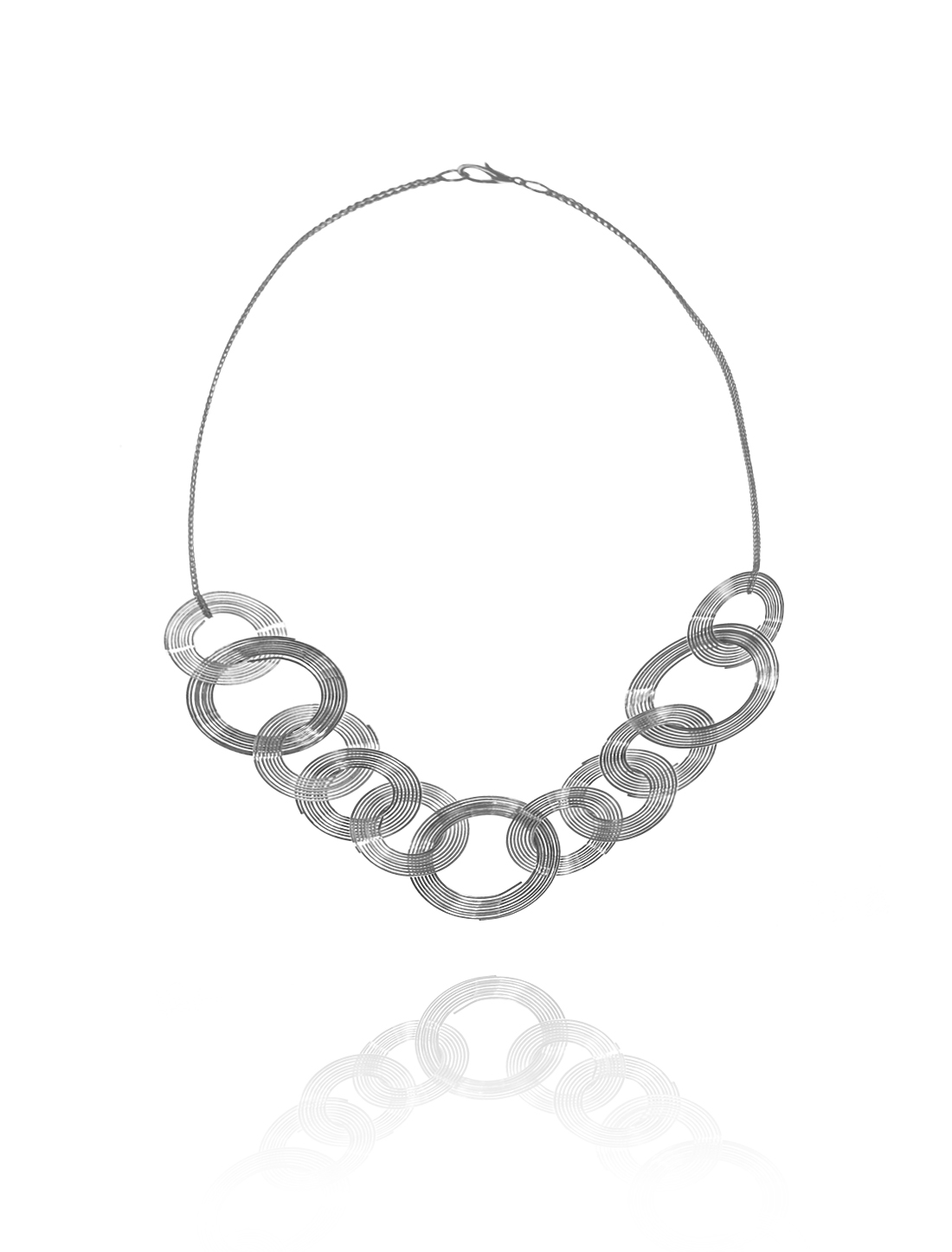 Gray Circle Statement Alloy Pendant Chain Bib Chunky Necklace Choker