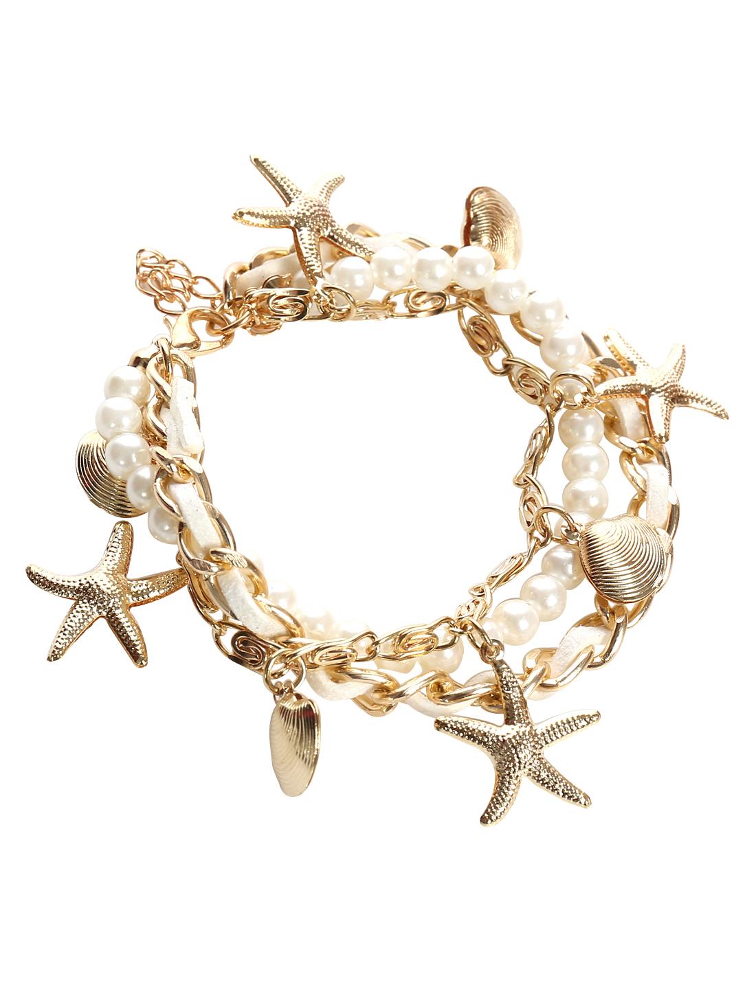 Starfish Shell White Leather Imitation Pearl Charm Wrap Wristband Bracelet Bangle Chain Cuff
