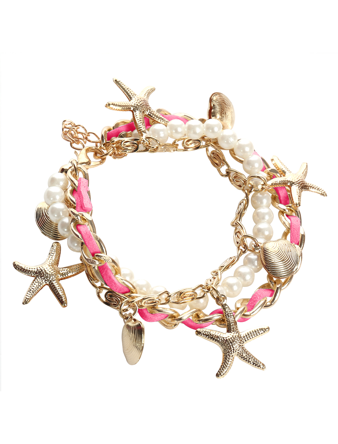 Starfish Shell Rose Red Leather Imitation Pearl Charm Wrap Wristband Bracelet Bangle Chain Cuff