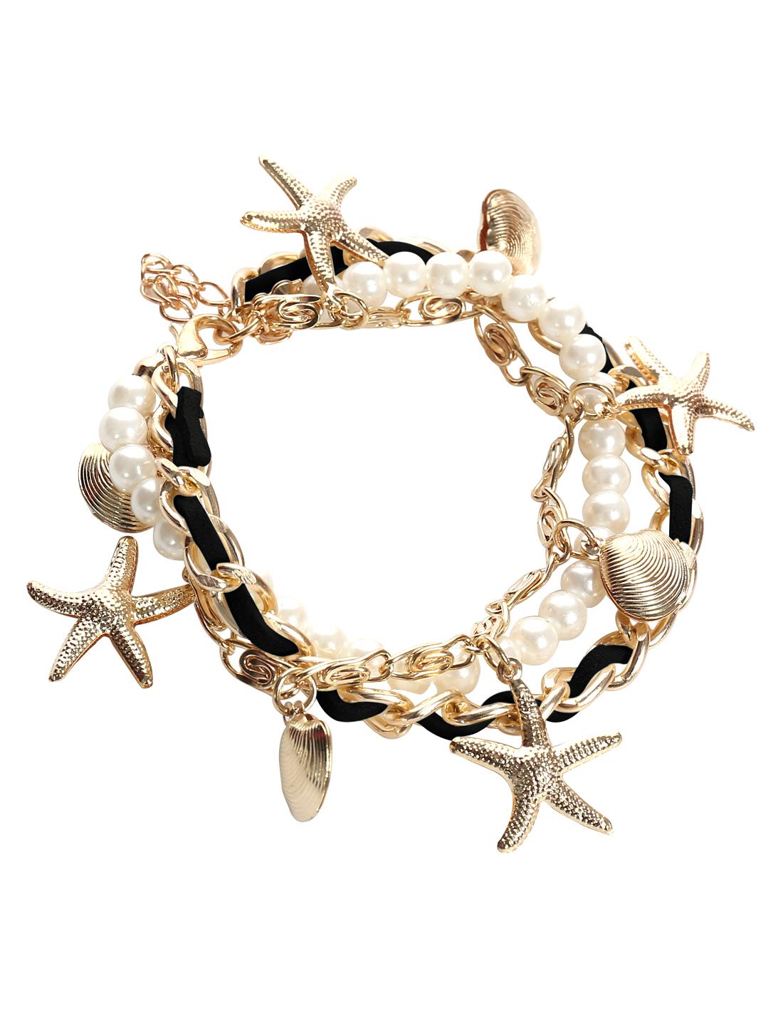 Starfish Shell Rose Black Leather Imitation Pearl Charm Wrap Wristband Bracelet Bangle Chain Cuff
