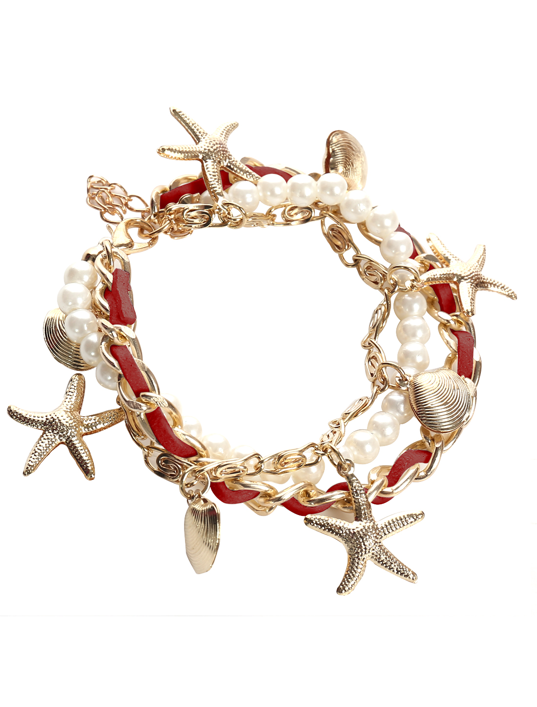 Starfish Shell Red Leather Imitation Pearl Charm Wrap Wristband Bracelet Bangle Chain Cuff