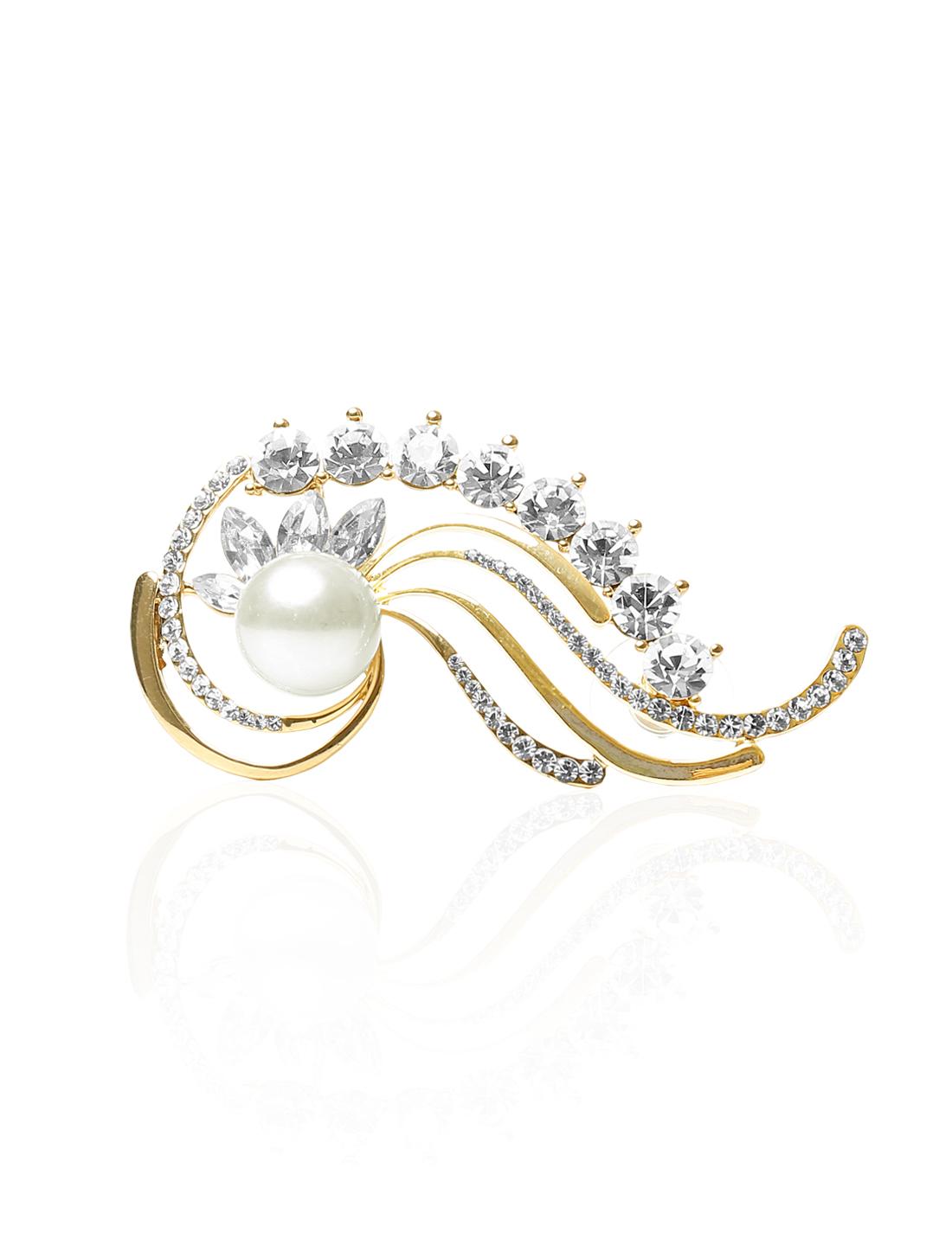 Mermaid Punk White Imitation Crystal Pearl Ear Rhinestone Clip Cuff Wrap Earring Stud Rock