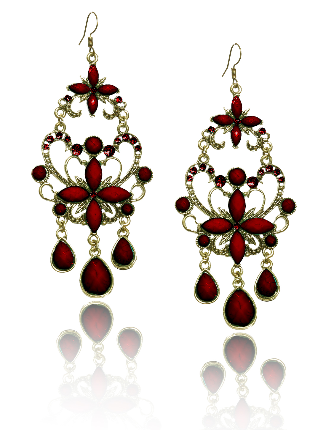 Women Retro Red Cross Shaped Crystal Resin Drop Dangle Hook Earring Ear Stud