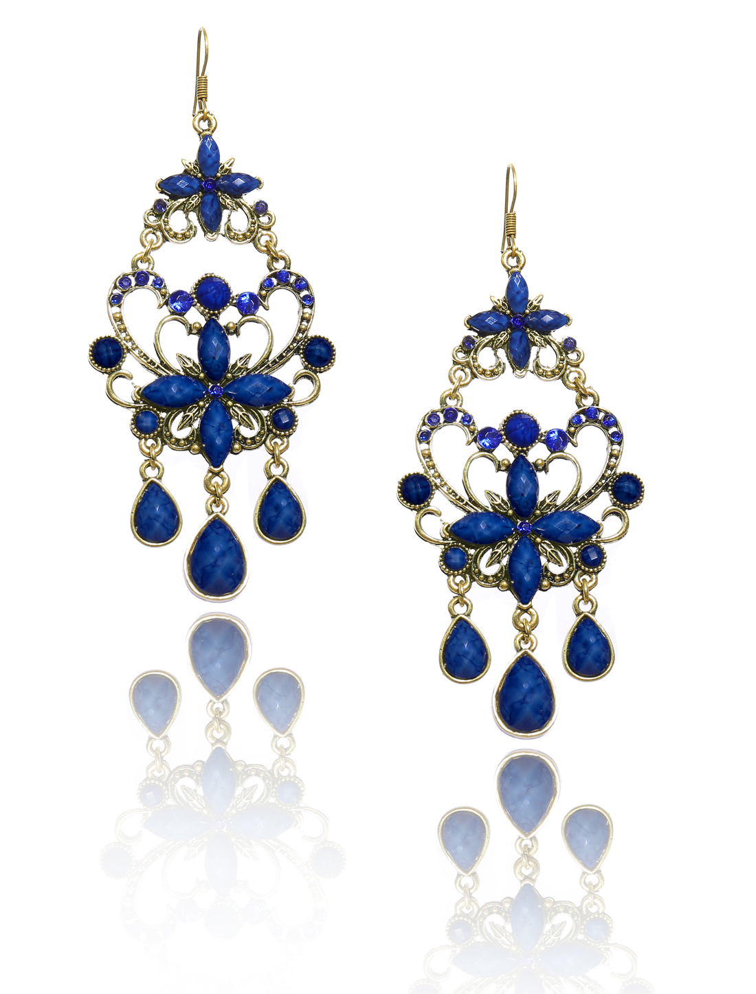 Women Retro Blue Cross Shaped Crystal Resin Drop Dangle Hook Earring Ear Stud