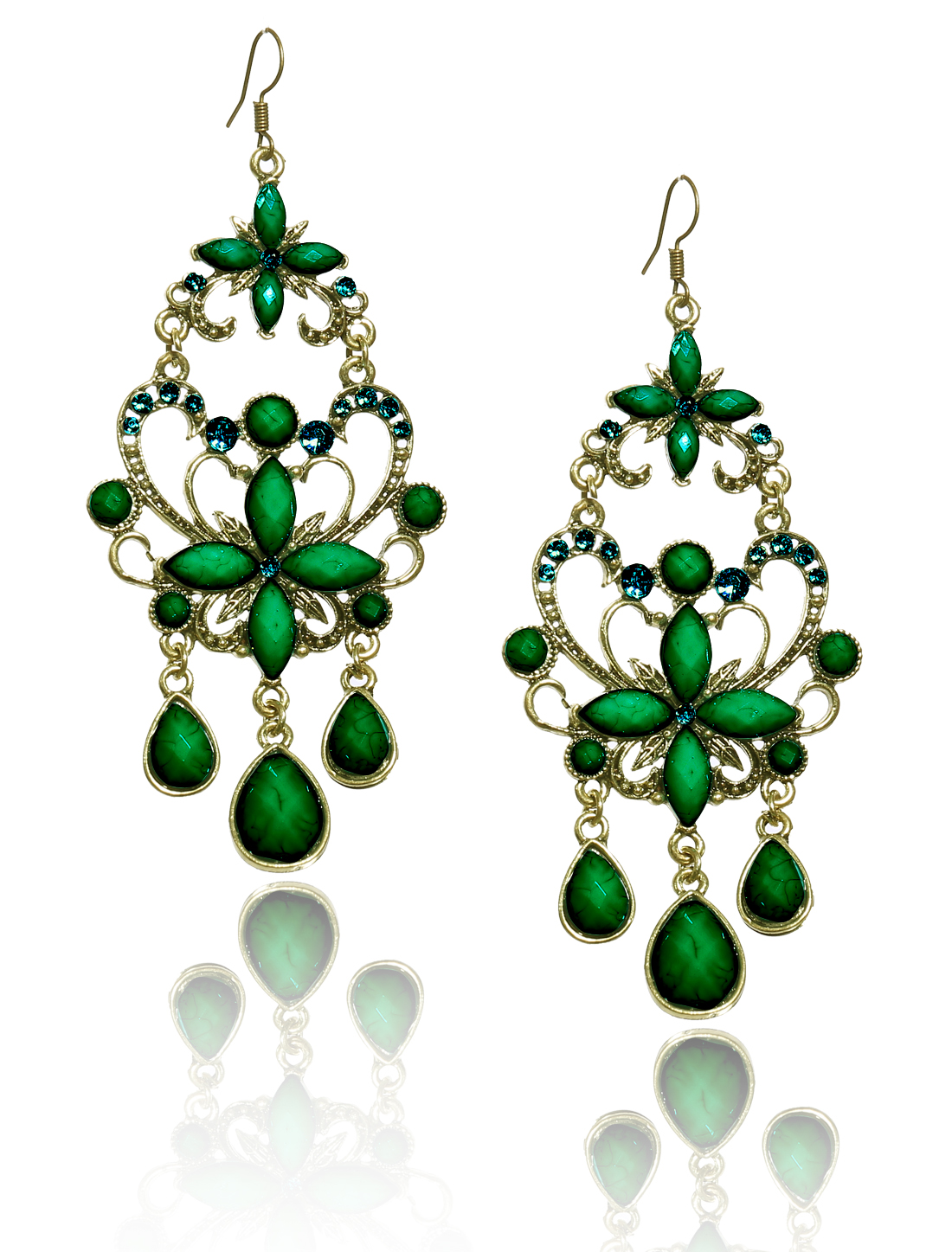 Women Retro Green Cross Shaped Crystal Resin Drop Dangle Hook Earring Ear Stud