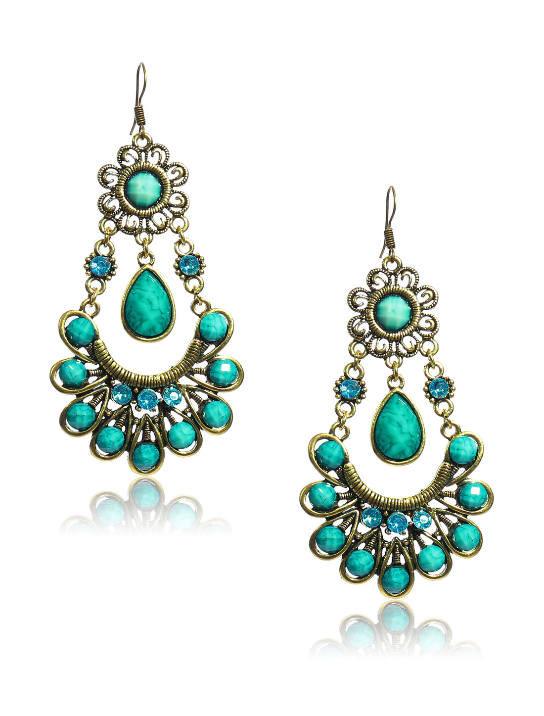 Women Retro Cyan Skirt Shaped Crystal Resin Drop Dangle Hook Earring Ear Stud