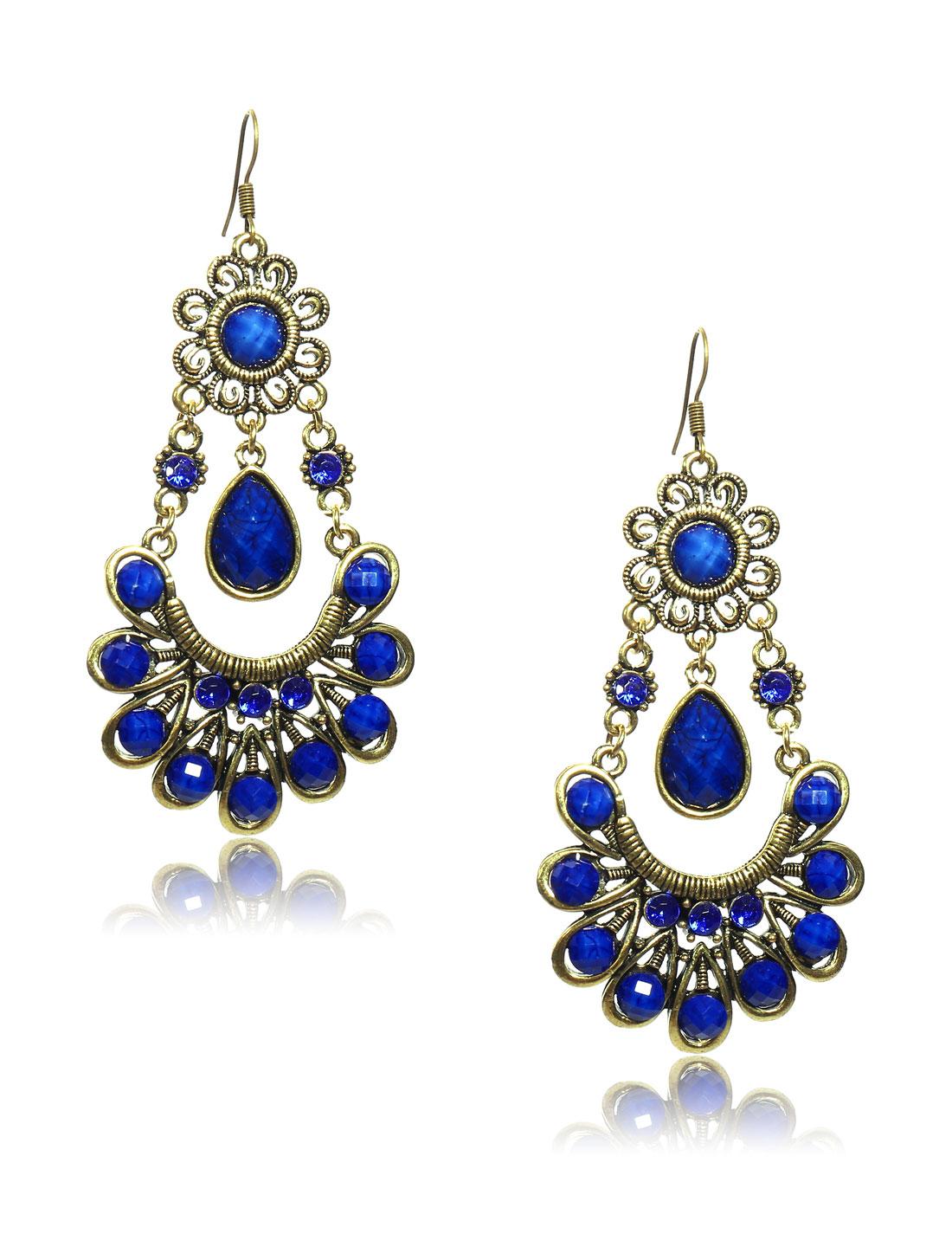 Women Retro Blue Skirt Shaped Crystal Resin Drop Dangle Hook Earring Ear Stud