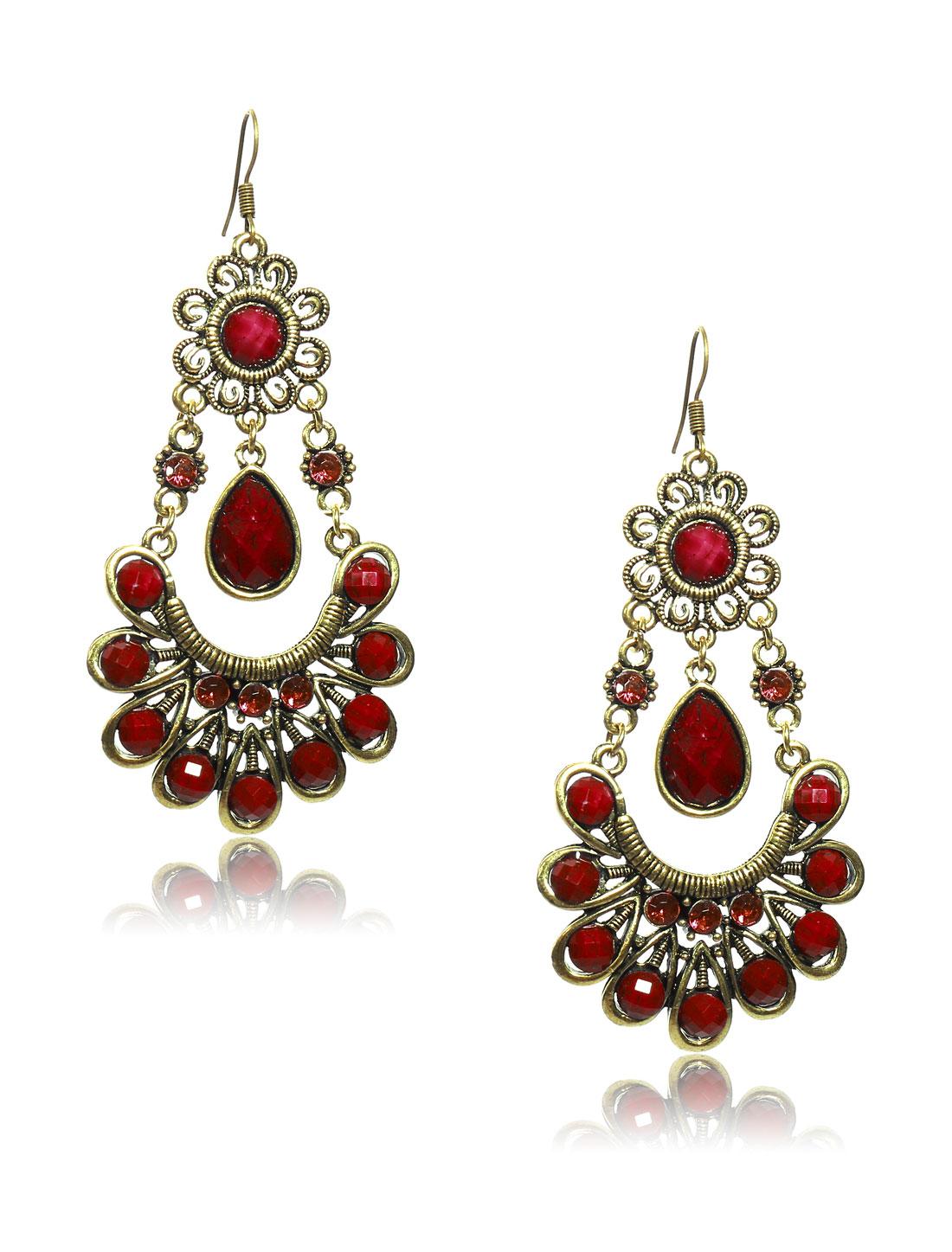 Women Retro Red Skirt Shaped Crystal Resin Drop Dangle Hook Earring Ear Stud