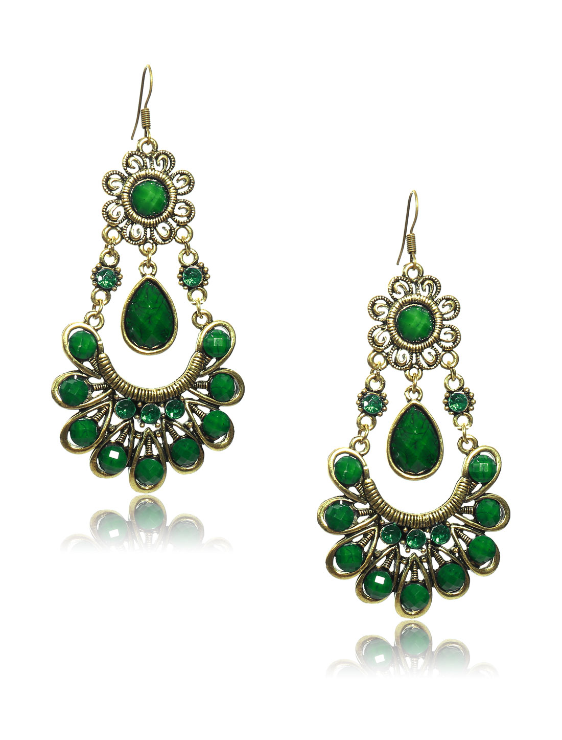 Women Retro Green Skirt Shaped Crystal Resin Drop Dangle Hook Earring Ear Stud
