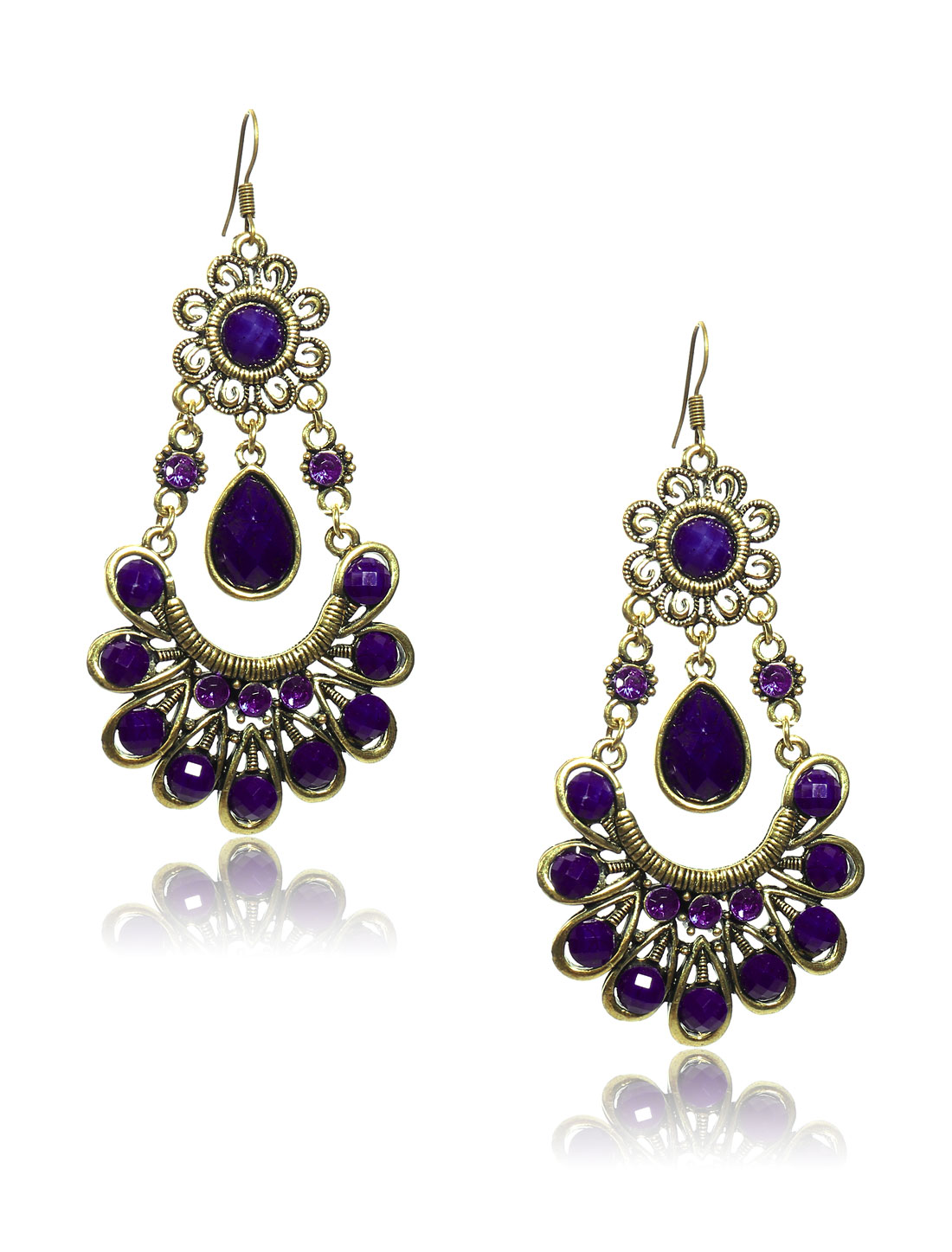 Women Retro Purple Skirt Shaped Crystal Resin Drop Dangle Hook Earring Ear Stud