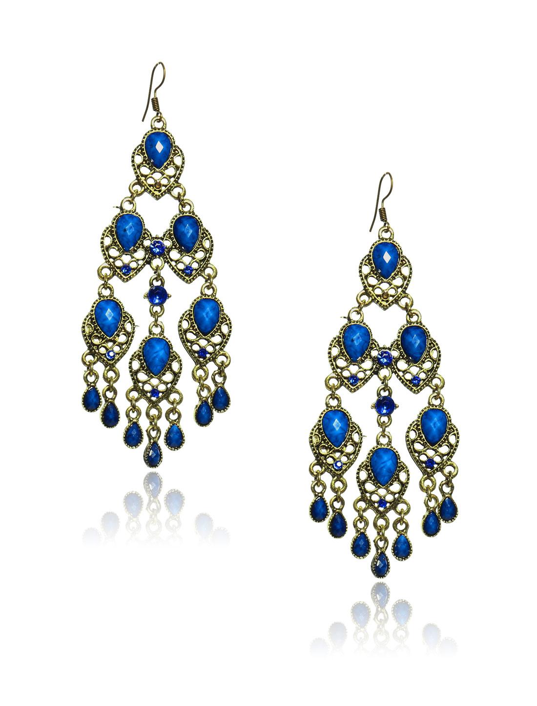 Women Retro Blue three-layer Shaped Crystal Resin Drop Dangle Hook Earring Ear Stud
