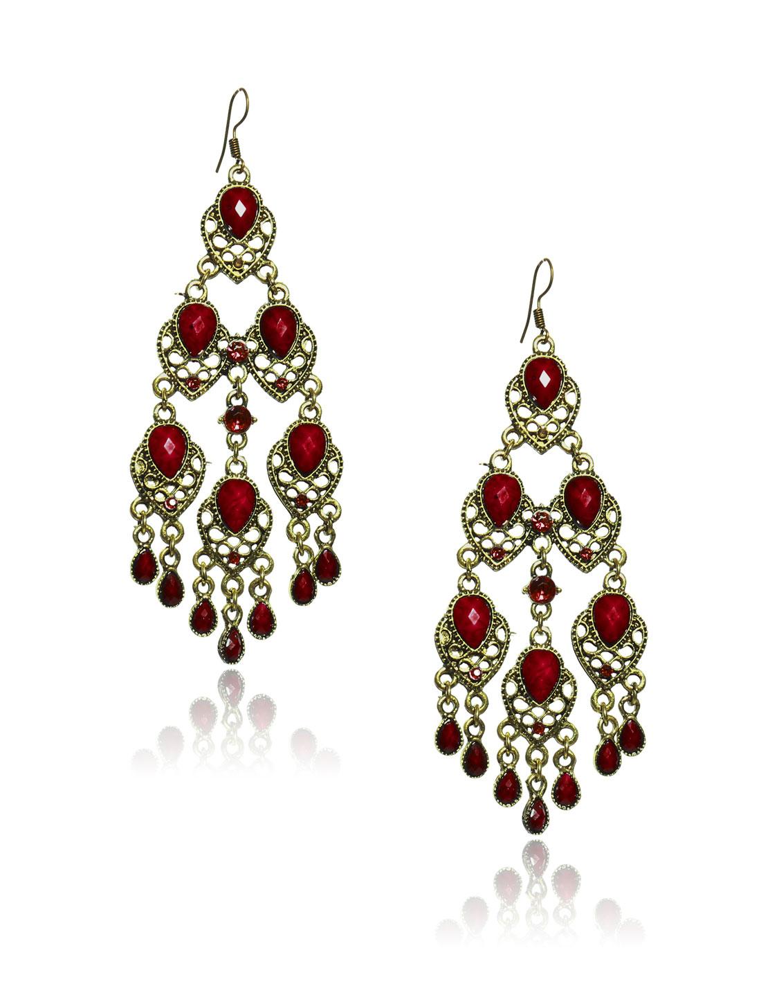 Women Retro Red three-layer Shaped Crystal Resin Drop Dangle Hook Earring Ear Stud