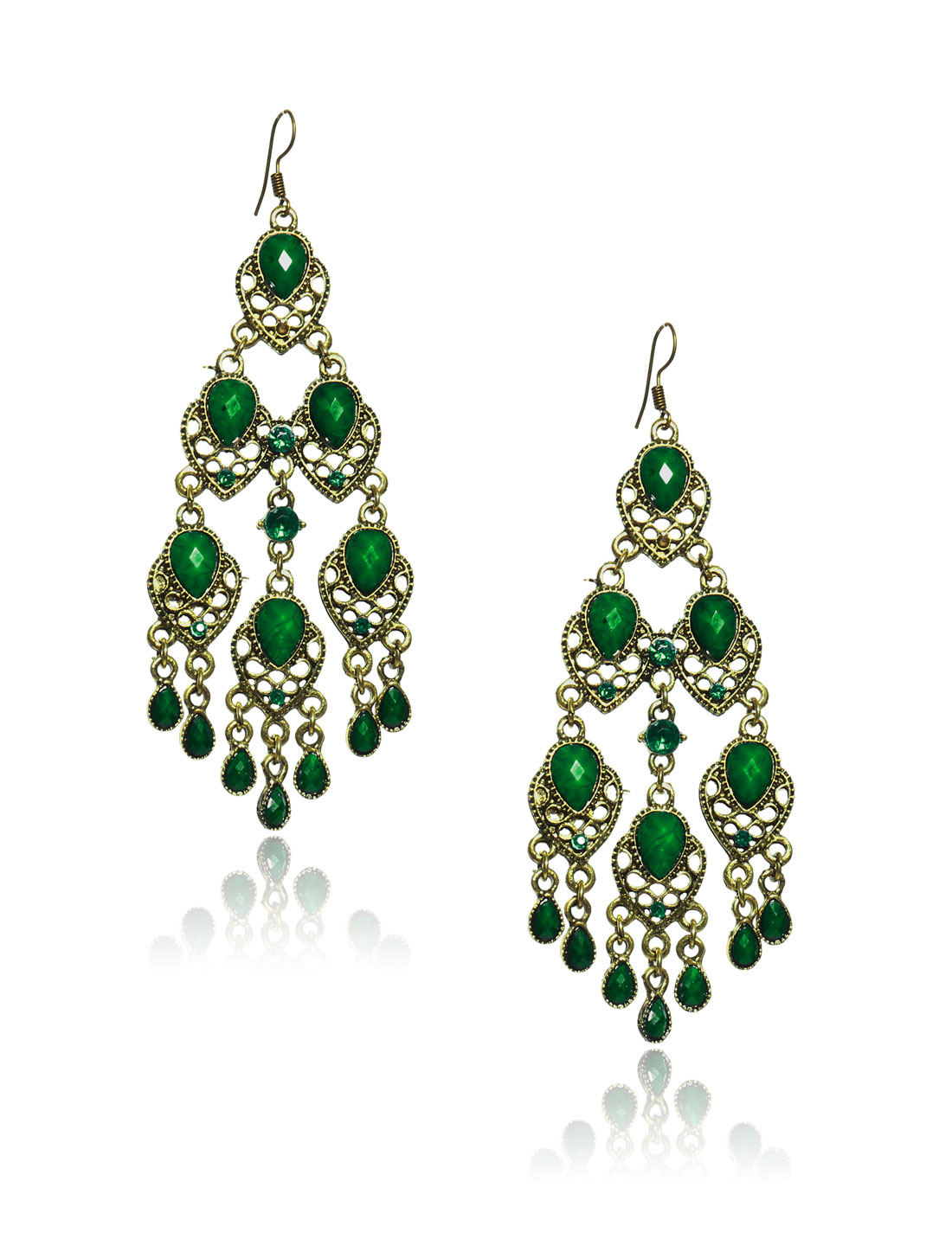 Women Retro Green three-layer Shaped Crystal Resin Drop Dangle Hook Earring Ear Stud