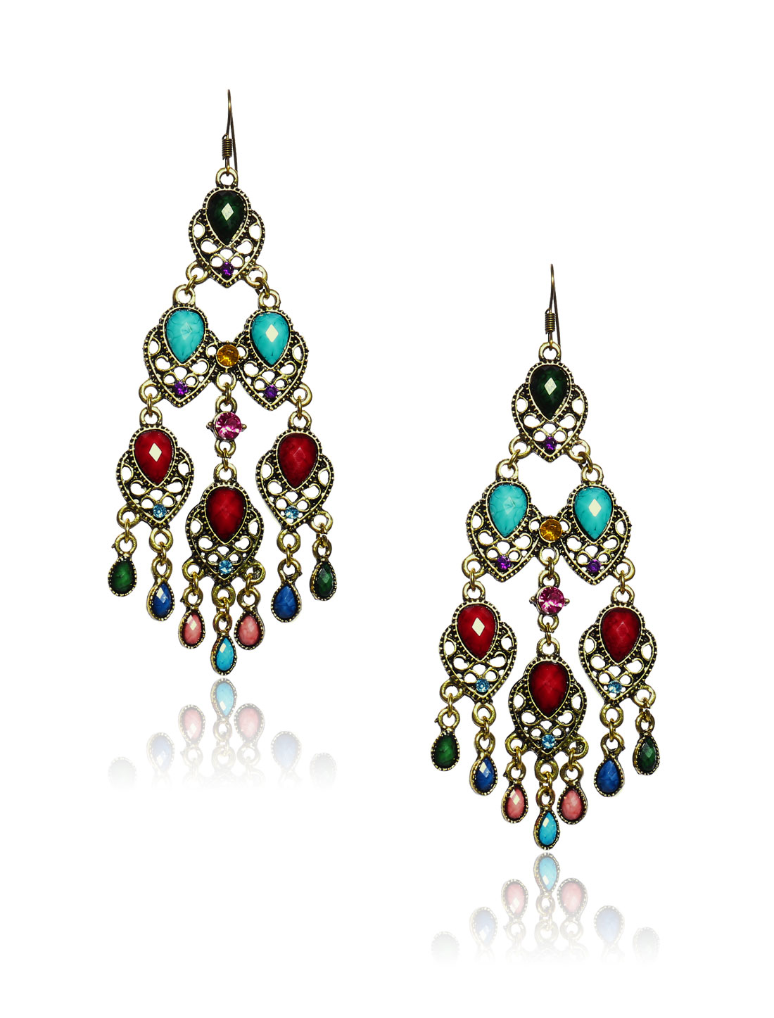 Women Retro Multi-colored three-layer Shaped Crystal Resin Drop Dangle Hook Earring Ear Stud