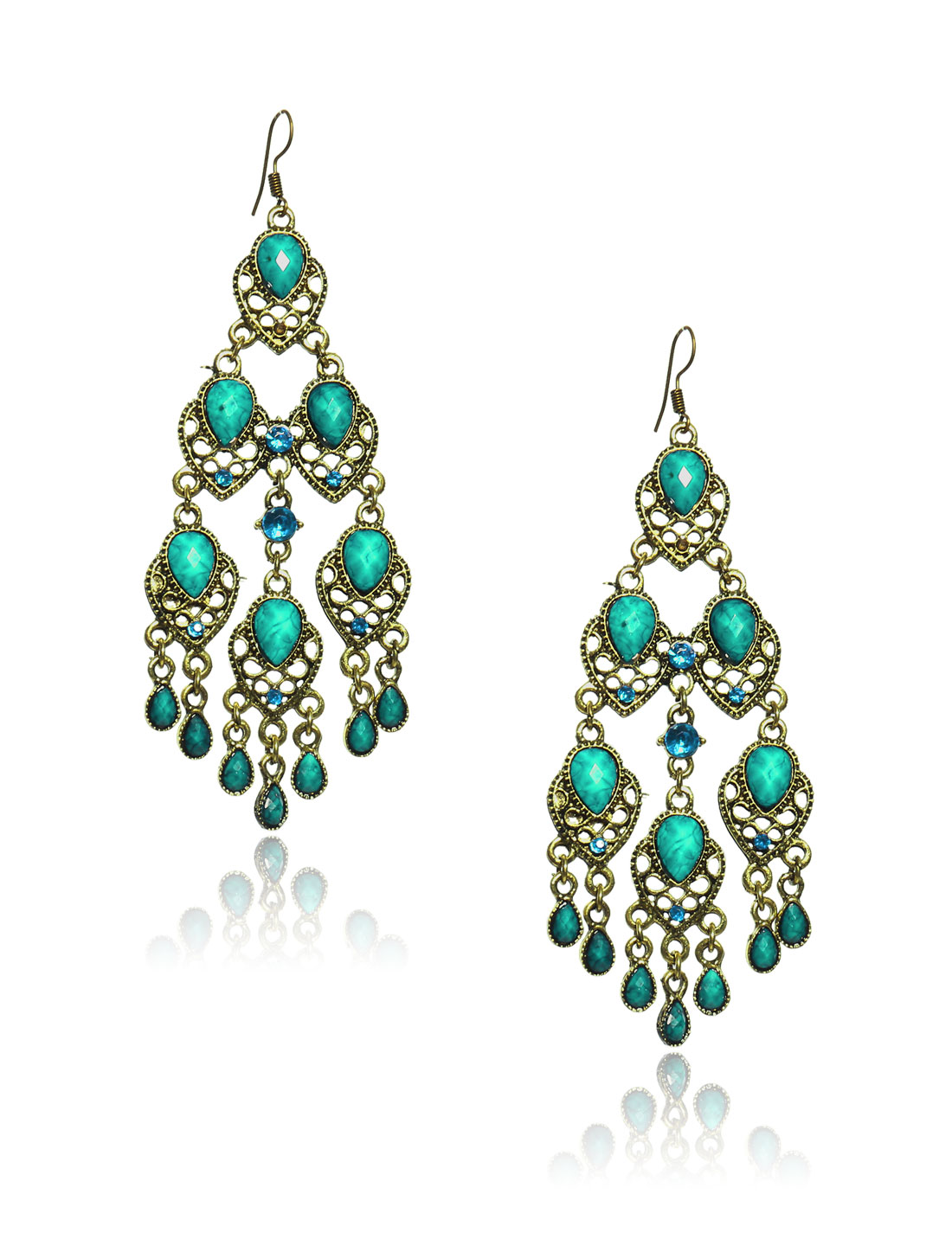 Women Retro Cyan three-layer Shaped Crystal Resin Drop Dangle Hook Earring Ear Stud