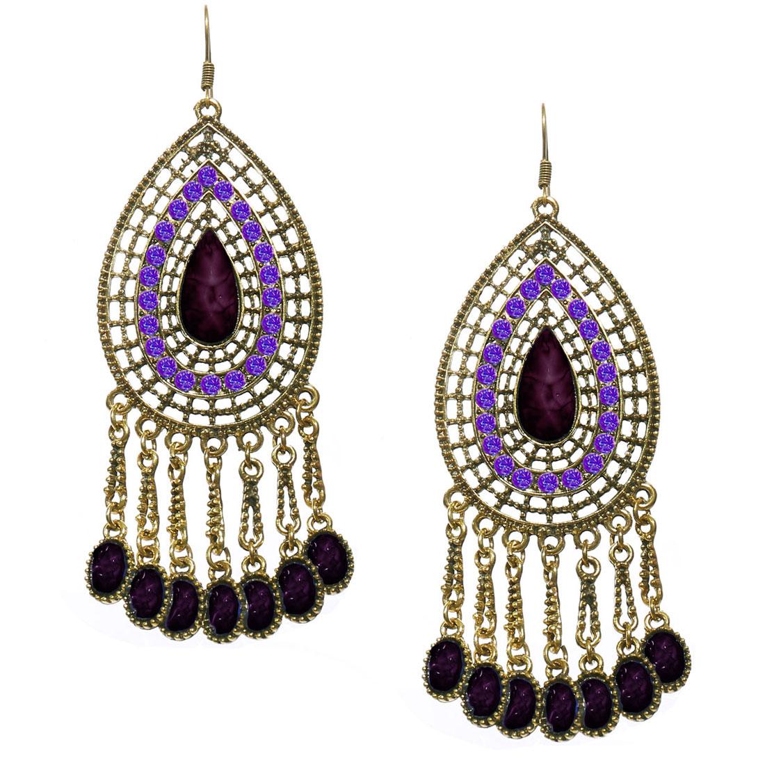 Women Retro Purple Waterdrop Shaped Crystal Resin Drop Dangle Hook Earring Ear Stud