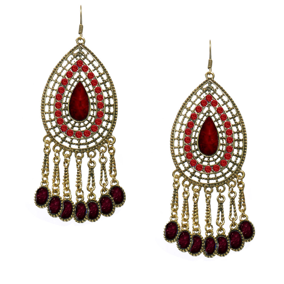 Women Retro Red Waterdrop Shaped Crystal Resin Drop Dangle Hook Earring Ear Stud