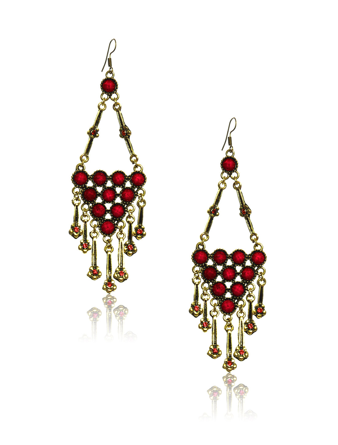 Women Retro Red Triangle Shaped Crystal Resin Drop Dangle Hook Earring Ear Stud