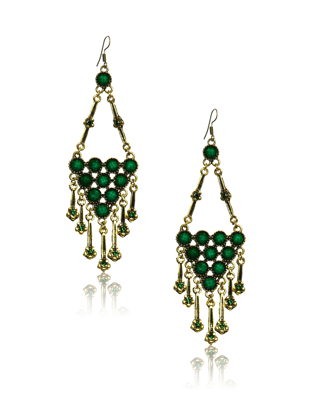 Women Retro Green Triangle Shaped Crystal Resin Drop Dangle Hook Earring Ear Stud