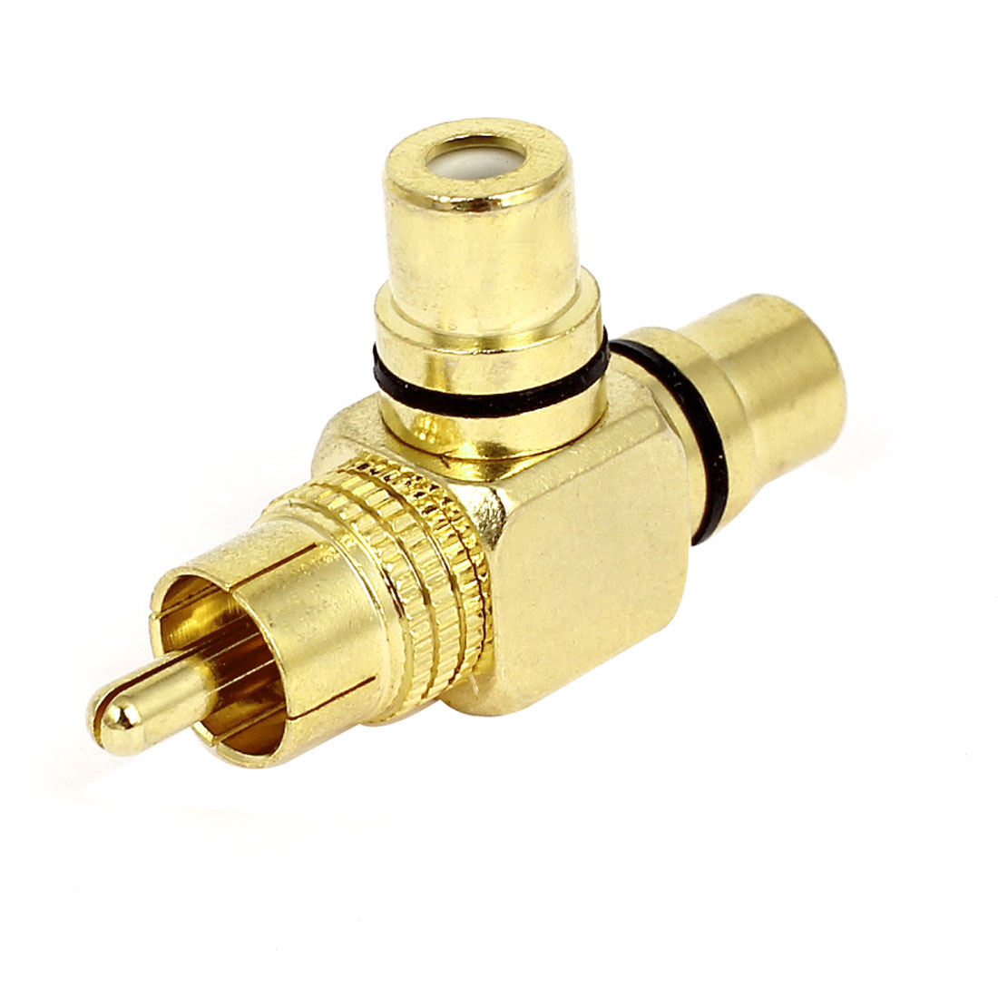 Gold Plated T Shape RCA 1 Male to 2 Female Jack Connector Adapter