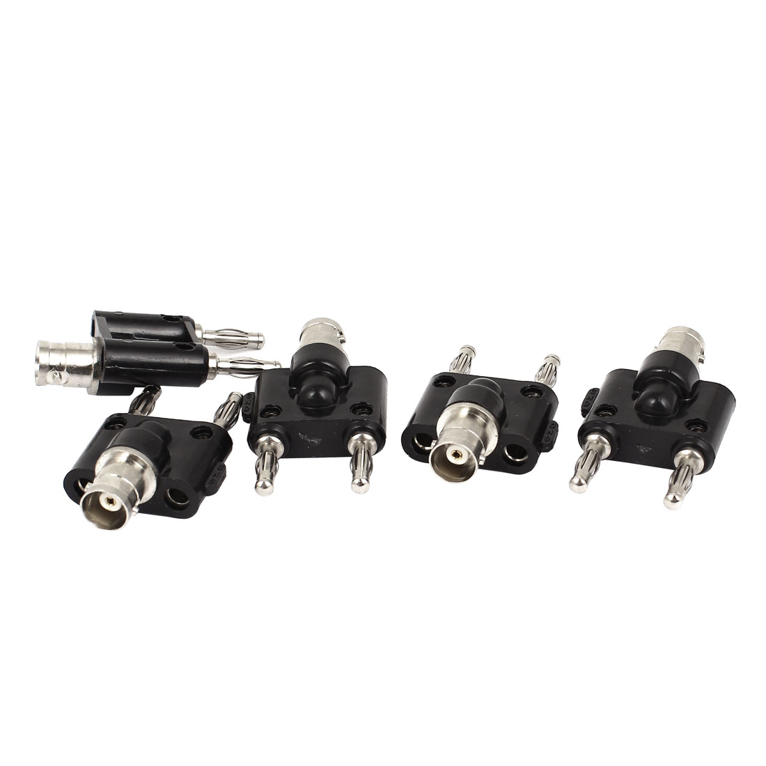 5PCS BNC Female Jack to Dual Stacking Banana Male Connector Adapter