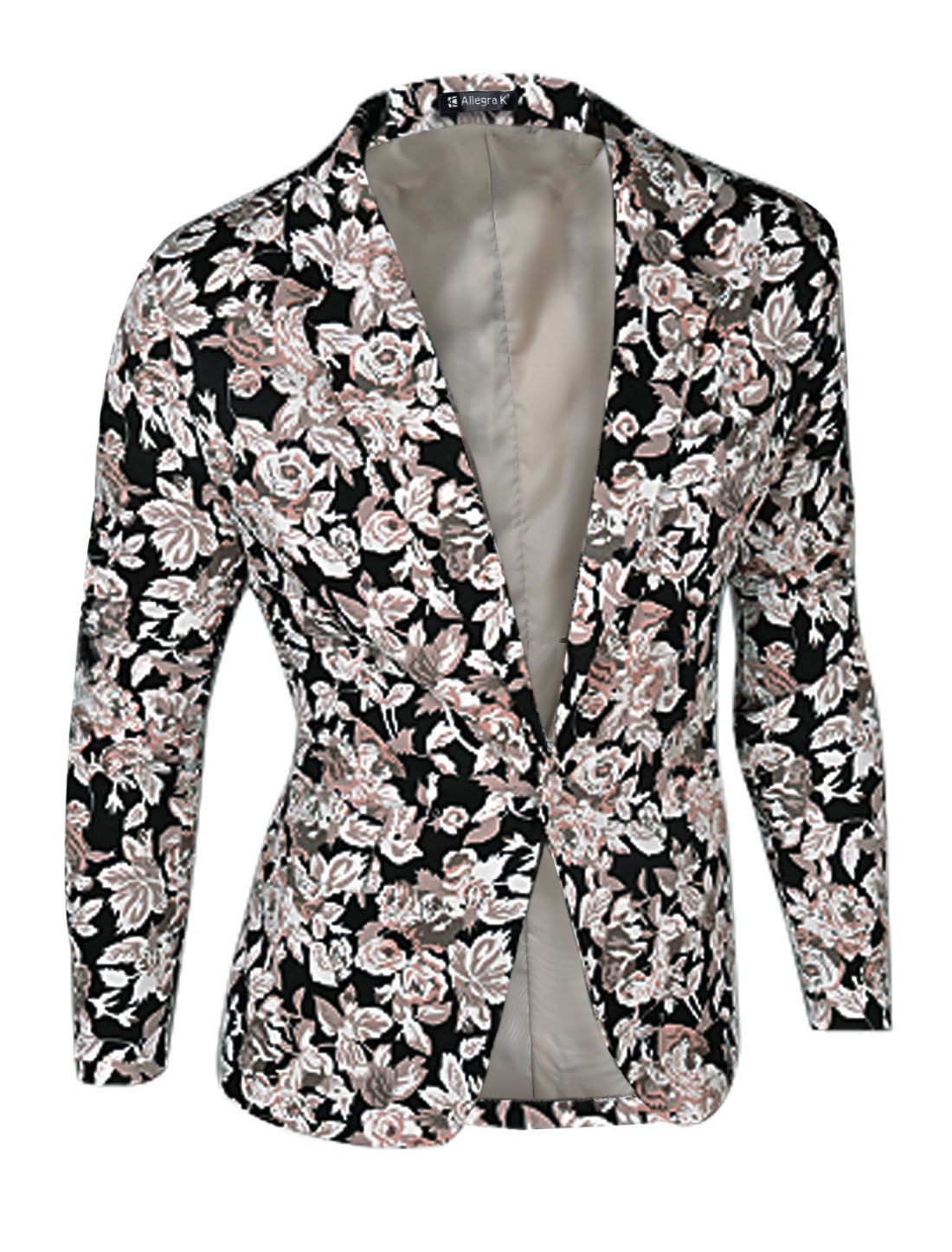 Men Floral Prints Long Sleeves One-Button Casual Blazer Jacket Black M