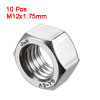 Metric M12x1.75mm Stainless Steel Finished Hexagon Hex Nut Silver Tone 10pcs