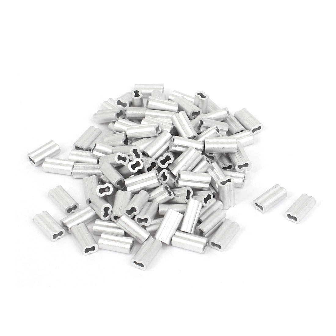 1mm Wire Rope Aluminum Sleeves Clip Fittings Loop Sleeve Cable Crimps 100pcs
