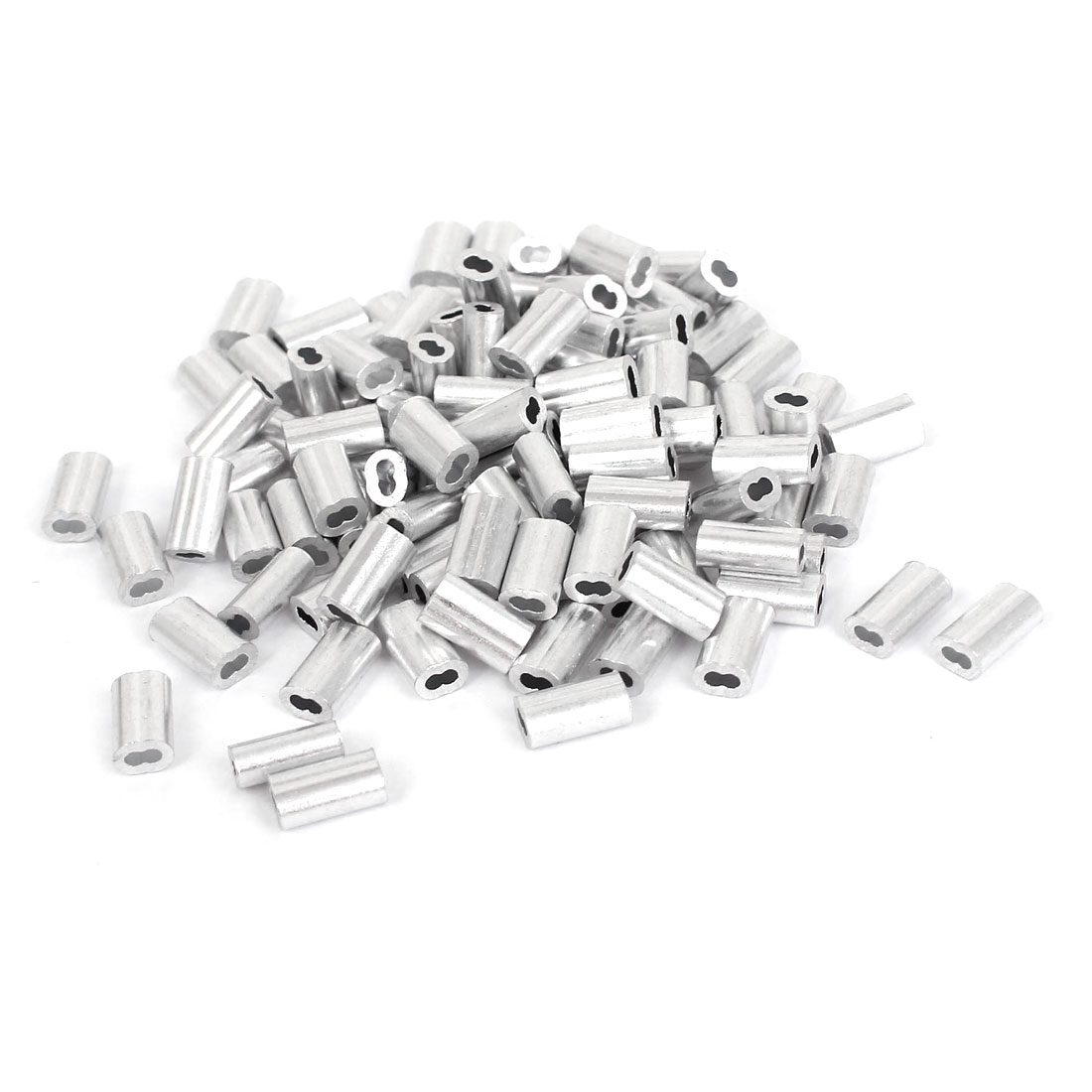 "1/20"" 1.2mm Wire Rope Aluminum Sleeves Clip Fittings Cable Crimps 100pcs"