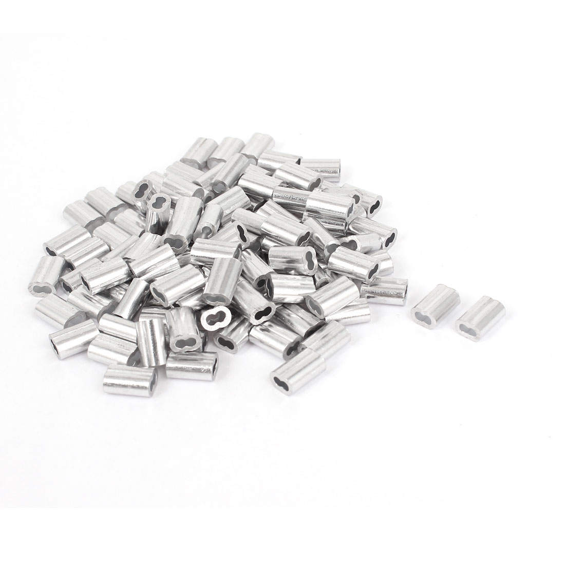 """1.5mm 1/16"""" Wire Rope Aluminum Sleeves Loop Sleeve Cable Crimps 100 Pcs"""
