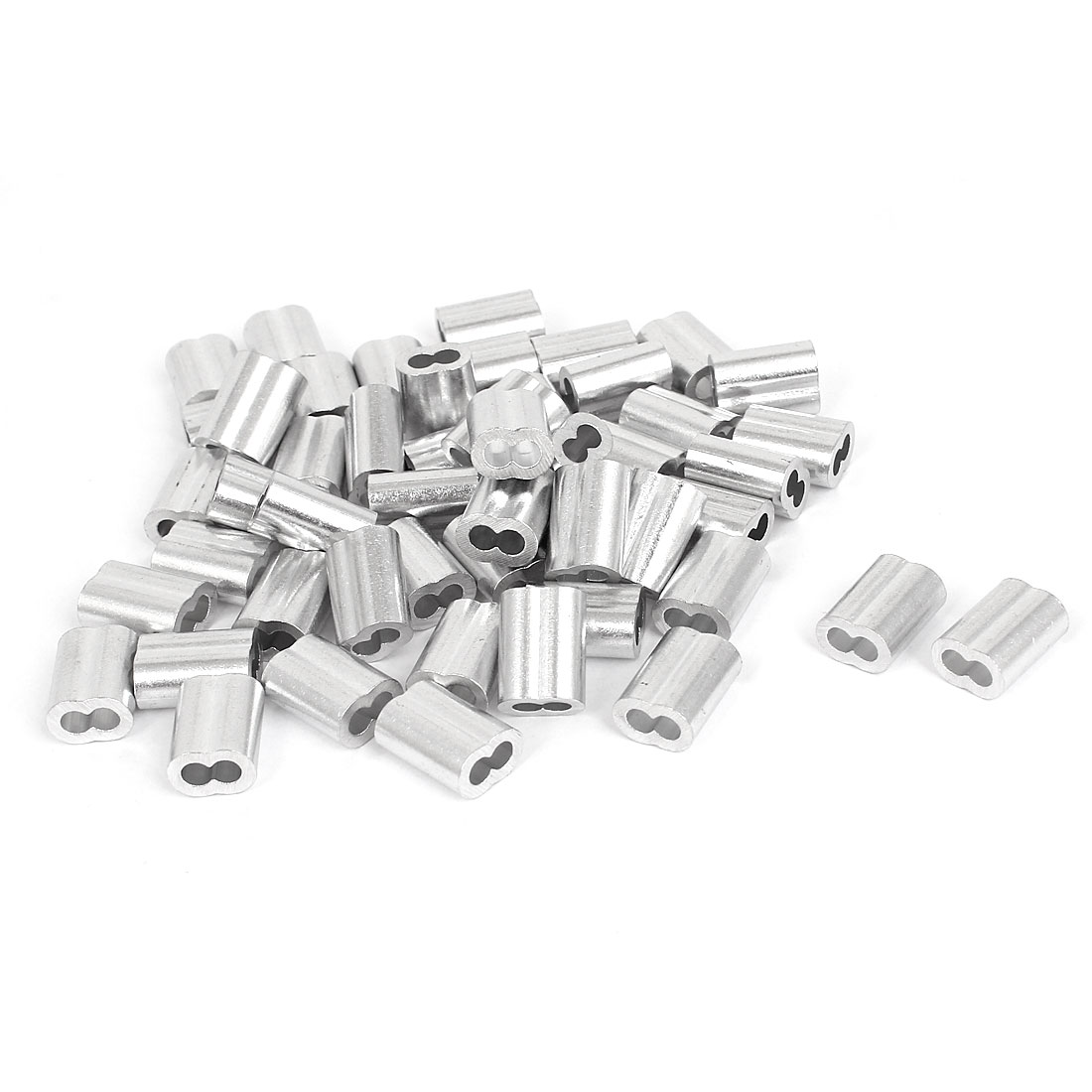 "3/25"" Wire Rope Aluminum Sleeves Clip Fittings Loop Sleeve Cable Crimps 50pcs"